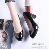 小跟鞋四季女粗跟單鞋一腳蹬淺口韓版圓頭高跟鞋子防水臺女式皮鞋【免運快出】