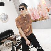 短袖襯衫2019夏季豎條紋男韓版學院風修身青少年襯衣 QX2512 『愛尚生活館』