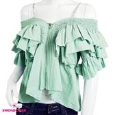 【SHOWCASE】細肩雙荷葉袖露肩麻感造型短版上衣(綠)