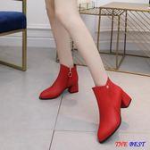 短靴 瘦瘦靴 英倫 尖頭 短靴 圓頭 高跟 粗跟 馬丁靴