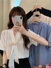拼接襯衫 夏季韓版2021新款顯瘦拼接個性百搭簡約風純色短袖襯衫上衣女裝潮【618 狂歡】