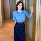 2021夏季新款復古港味藍色牛仔短袖襯衫女設計感小眾休閒百搭襯衣 果果輕時尚