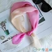 絲巾小方巾女正方形絲桑蠶絲圍巾薄款圍脖護頸【千尋之旅】