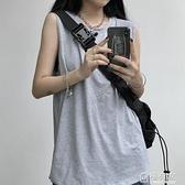 外穿純色背心上衣女韓版ins原宿風寬鬆百搭學生白色無袖T恤潮 極有家