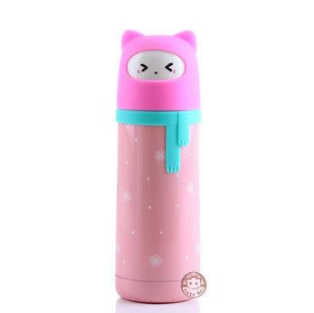 【易奇寶】日韓爆款 可愛雪女圍巾造型不銹鋼保溫杯300ml 粉色