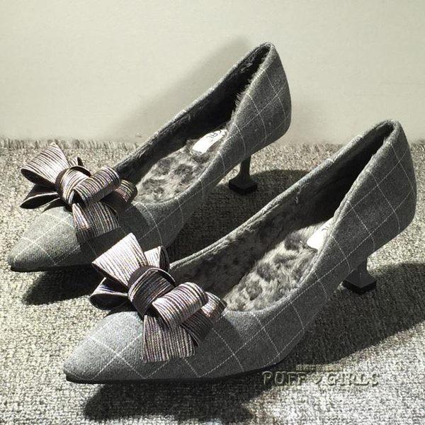 貓跟鞋女鞋春季高跟鞋細跟韓版百搭爆款社會尖頭單鞋中跟