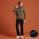 【GIORDANO】男裝內刷毛腰鬆緊抽繩保暖防風長褲-08 黑色