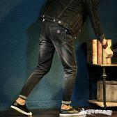 牛仔長褲 秋季新款鬆緊腰牛仔褲男黑色彈力修身小腳褲青少年繫帶潮 Cocoa