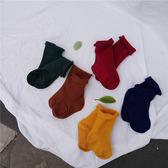 童裝春裝男女童卷邊襪中小童春季襪子中筒襪
