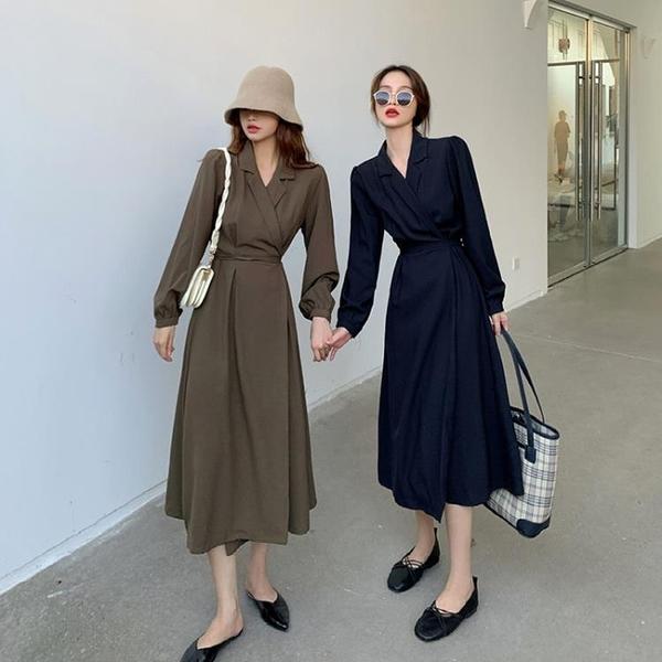 襯衫裙 秋裝法式復古V領長袖洋裝女氣質綁帶收腰中長款A字裙-Milano米蘭