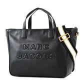 美國正品 MARC JACOBS 浮雕LOGO小牛皮寬背帶拉鍊手提/斜背二用包-黑色【現貨】
