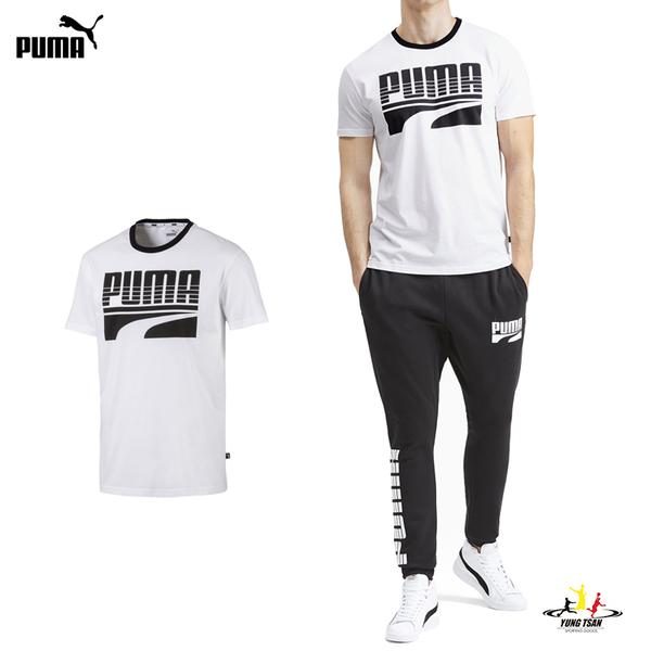 Puma logo 男 白 短袖 運動 棉質 慢跑 圓領上衣 休閒 柔軟 舒適 T恤 58088902