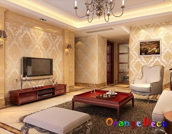 壁貼【橘果設計】鑲鑽大馬士革系列壁紙(米黃)10米長DIY組合壁貼 牆貼 壁貼 室內設計 裝潢