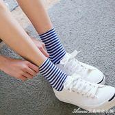 春秋款女士純棉條紋襪子韓版夏季打底運動襪韓國百搭學院風中筒襪艾美時尚衣櫥