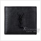 YSL Monogram鱷魚皮設計黑字LOGO牛皮8卡對折短夾(黑)