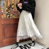 百摺長裙 白色百摺半身裙中長款女2020年夏季新款高腰a字顯瘦百搭網紗短裙 小天使