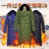 軍大衣棉大衣男冬季長款加厚毛領保暖軍大衣加長多功能防寒服棉襖『艾麗花園』