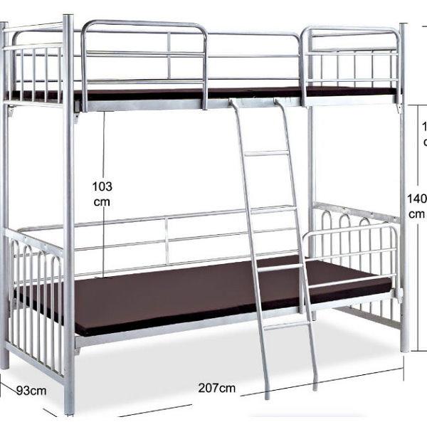雙層床 FB-589-1 圓柱銀管3尺雙層鐵床 (不含床墊) 【大眾家居舘】