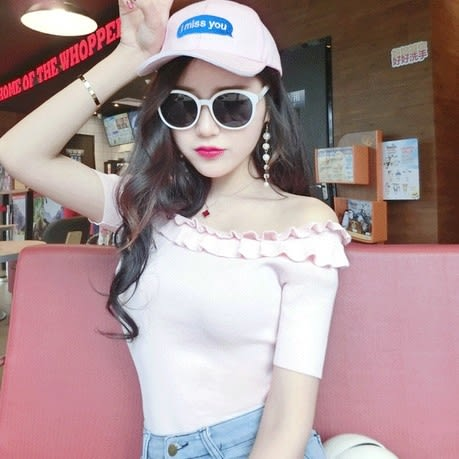 EASON SHOP(GU6464)木耳邊短袖針織衫一字領T恤彈力貼身露肩內搭衫女上衣服素色白棉T春夏裝韓版