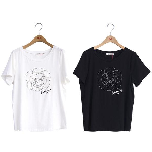 春裝販促[H2O]立體山茶花貼布繡針織棉T - 黑/白色 #9691003