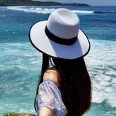沙灘帽女英倫禮帽海邊防曬可折疊遮陽帽