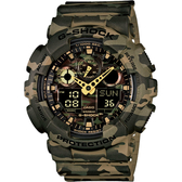 CASIO 卡西歐 G-SHOCK 迷彩雙顯手錶-卡其 GA-100CM-5A / GA-100CM-5ADR
