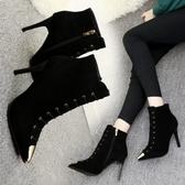 韓版靴子女秋冬新款尖頭女短靴細跟高跟鞋裸靴 萬客居