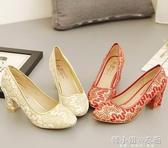 秋冬紅色綢布大碼粗高跟結婚鞋旗袍鞋龍鳳繡花鞋秀禾服女鞋 韓小姐的衣櫥
