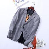 老王剪標男裝秋季商務休閒小西裝修身單西男士西服純色便西外套 自由角落