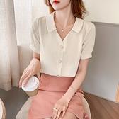 涼感上衣 短袖襯衫S-2XL8329短袖雪紡襯衫女士夏裝職業工作服襯衣薄款V領上衣t恤T614快時尚