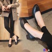 [貝貝居] 工作鞋 黑色 粗跟 中跟 低跟 防滑 軟底 皮鞋 尖頭單鞋