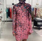 ■專櫃74折■ 全新真品■Givenchy 紀梵希 荷葉邊粉紅色皺褶連衣裙 FR 38=IT44=US6