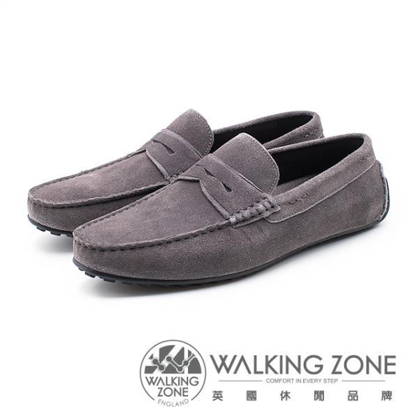 【南紡購物中心】WALKING ZONE 絨面皮革直套開車鞋 男鞋 - 灰(另有藍)