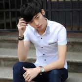 短袖素面襯衫 男方領棉透氣白襯衣休閒大碼薄款《印象精品》t417
