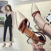 高跟鞋 高跟鞋女粗跟韓版百搭晚晚一字扣尖頭單鞋淺口淑女鞋 韓先生