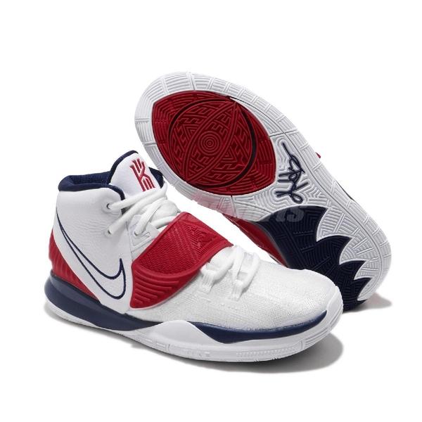 Nike 籃球鞋 Kyrie 6 GS USA 白 藍 紅 女鞋 美國隊 Irving 6代 KI6 運動鞋【ACS】 BQ5599-102