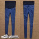 現 膝蓋一字破純色高腰孕婦(腰圍可調)牛仔褲 藍【CRH51103】孕味十足。孕婦裝