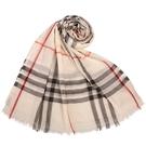 BURBERRY 輕質格紋羊毛真絲披肩圍巾(石色)089543-1
