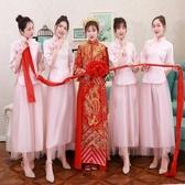 中式伴娘服粉色2019新款姐妹裙中國風伴娘團禮服復古民國夏長款女YJ302【雅居屋】