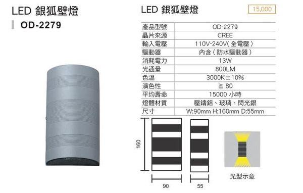 【燈王的店】LED 13W銀狐室內外壁燈 ☆ OD2279