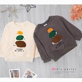 米色 純棉 可愛毛繡線小刺蝟刷毛上衣 立體 撞色 可愛 動物 保暖 男童上衣 厚 兒童長袖 冬童裝
