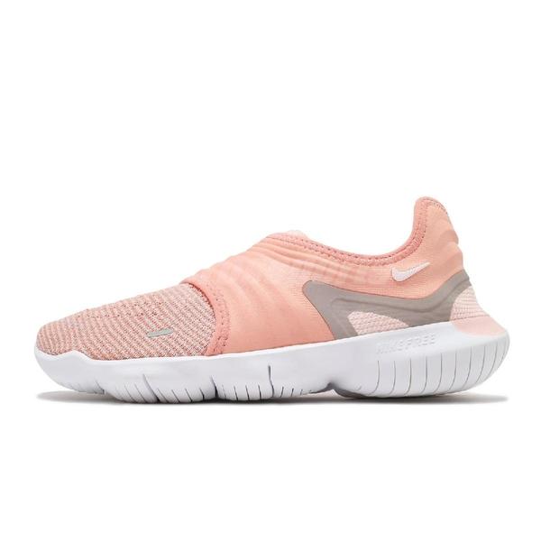 Nike 慢跑鞋 Wmns Free RN Flyknit 3.0 粉紅 白 赤足 女鞋【ACS】 AQ5708-600
