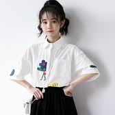 2020夏天新款日系學院風白色襯衫女短袖寬鬆韓版印花襯衣學生上衣 幸福第一站