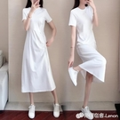 新款純棉長款t恤裙夏顯瘦收腰過膝休閒白色洋裝女氣質簡約 檸檬衣舍