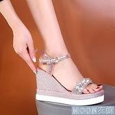 坡跟涼鞋時尚派女鞋大小碼33碼34碼35碼36碼到39碼40碼夏天涼鞋8厘米 快速出貨