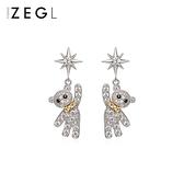 ZENGLIU高級感可愛小熊耳環女氣質韓國網紅耳墜簡約耳釘銀針耳飾 韓國時尚週 免運