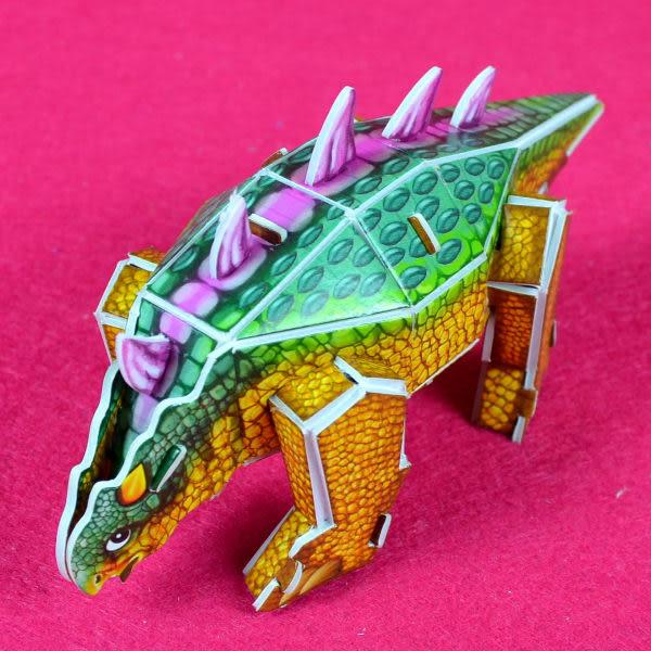 佳廷模型 親子DIY紙模型3D立體拼圖贈品獎勵品專賣店 昆蟲館動物園 袋裝恐龍2甲龍 Calebou卡樂保