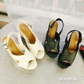 日系夏季涼鞋女蕾絲復古洛麗塔坡跟防水台鬆糕底女鞋 可可鞋櫃