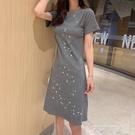 氣質短袖t恤洋裝女夏2020新款韓版亮片修身顯瘦中長款打底裙子 米娜小鋪