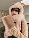 2021新款冬天韓版可愛小熊帽子女圍脖連帽一體圍巾手套秋冬季百搭 coco